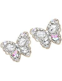 Footful White Butterfly Pair Sewing Rhinestone Applique DIY Wedding Dress Shoe Clip