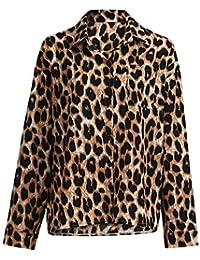 e5e7eb66a Mymyguoe Mujer Camisa Invierno otoño Manga Larga Leopardo Estampado Tops  Tallas Grandes Blusa con Bolsillo
