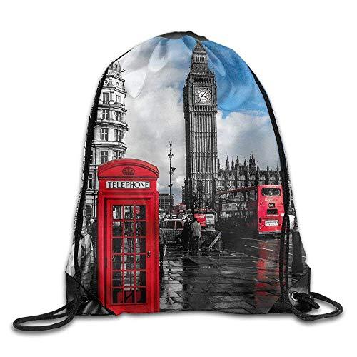 rwwrewre Kordelzug Turnbeutel,Unisex Drawstring Bags London City Big Ben Clock Portable Backpack Travel Sport Gym Bag Yoga Runner Daypack Shoe Bags (Big Ben Schneiden)