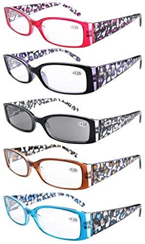 5er-Pack Lesebrille mit Federscharnier Fassung in Blumen muster inklusive Sonnenbrillen +1.25