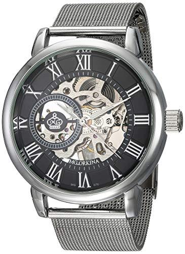 Herrenuhren Hohl Zahnrad Römische Zahlenskala Mechanische Armbanduhren für Herren Edelstahl Mesh Band Mode, Silber