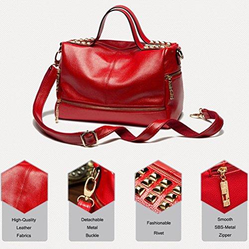Honeymall Damen überdimensional Hohe Kapazität Nieten Handtaschen Damen Henkeltaschen Elegante Umhängetasche für Damen weibliche Schultertasche(Schwarz) Rot