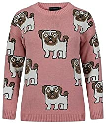 Ladies Womens Novelty Pug Dog Print Long Sleeve Knitted Jumper Sweater Top UK 8-14 (S-M (8-10 UK), Pink)