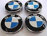 4x BMW BLAU WEISS Logo 68mm Nabenkappen Nabendeckel Radkappen Felgendeckel Rad Vollständiger Satz Kappen Series 1 3 4 5 6 7 8 x1 X3 X4 X5 X6 Z3 Z4 36136783536 36131095361 36136768640 E36 E38 E39 E46 E (white)