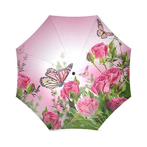 Butterflies Umbrella Wunderschöne Schmetterlinge und Blumen Anti Regen winddicht Travel Golf Sport Faltbare Regenschirm