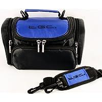 TGC ® Large Camera Case for Panasonic Lumix DMC-FZ40, DMC-FZ45, DMC-FZ47, DMC-FZ48, DMC-FZ150, DMC-FX700, DMC-GF2, DMC-GF3 (Dreamy Blue & Black)