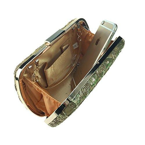Frau Handtasche Mode paillette Spitze Frau Pu hand Tasche einfach square Hartbox Kette Tasche Coffee