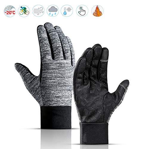 Lzfitpot Fahrradhandschuhe Winter, Super Warm & Weich Fahrrad Handschuhe Herren Damen, Touchscreen Handschuhe, Wasserdicht, Winddichte & rutschfeste Trainingshandschuhe für Laufen Camping Wandern