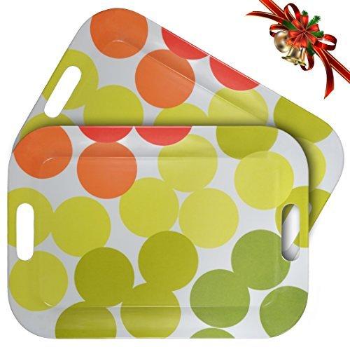 WUMN Plateau en plastique coloré avec poignées, sans BPA Plateau de sécurité pour nourriture, rectangulaire, en mélamine, de 42 x 30 cm, Plat de service, lot de 2