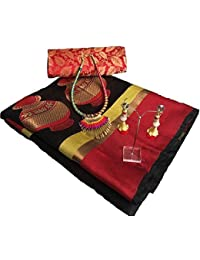 Harikrishnavilla Women's Silk Cotton Ready Pleated Saree With Blouse Piece (Matka Black Br_Black)