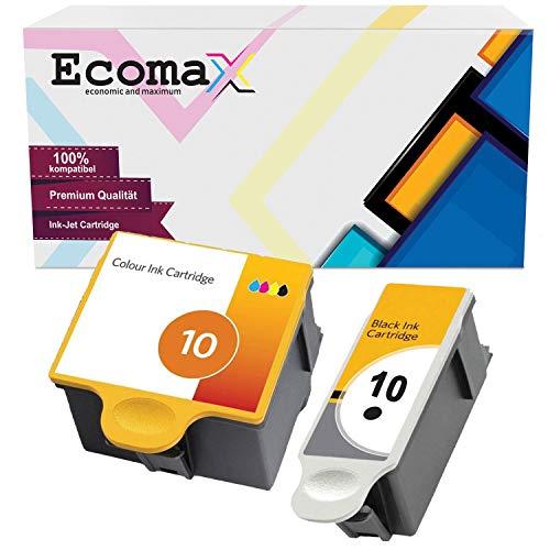Ecomax 2er Set Druckerpatronen kompatibel zu Kodak 10 (10B + 10C) für Kodak ESP 3 ESP 5 ESP 7 ESP 9, Easyshare 5300 5500 ESP 3250 5250 7250 9250, Hero 7.1 Hero 9.1 Hero Office 6.1 Easyshare 7