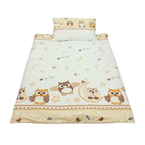 TupTam Kinderbettwäsche Set Gemustert 2 teilig, Farbe: Eulen 2 Beige, Größe: 135x100 cm