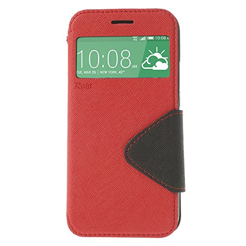 Housse protection dans la perfection | Ultra Slim Premium Housse Flip Case cover Étui Étui de protection en cuir avec fenêtre en simili cuir Bumper avec intérieur en silicone Coque Original Roar Fancy rouge