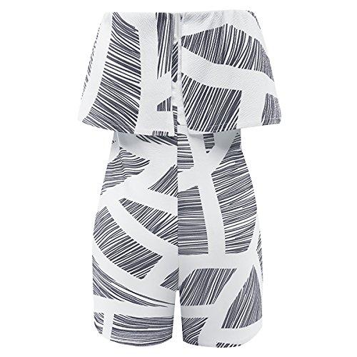 Yieune Epaules Dénudées Combinaisons Short Jumpsuit Femme Gris