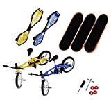 ECMQS 8 stuks Tech Deck Finger fiets en skateboard voor kinderen, 3 stuks x Finger Skateboards 2 stuks x Finger Swing Board, 1 set x Accessoires