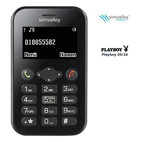 Simvalley Mobile Kleines Handy: Scheckkarten-Handy Pico RX-484 mit BT, Garantruf (Checkkartenhandy)