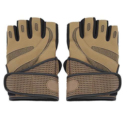 Lifting Sports Fahrradhandschuh Micor Fiber Breathable Half Finger Glove Extra Grip für Klimmzüge, Cross-Training, Fitness, WODs & Gewichtheben.Anzüge Männer & Frauen(Braun)