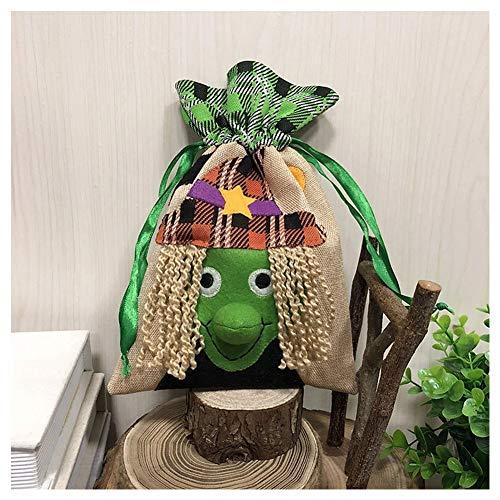 WMGVG Halloween Geschenktüte Bonbon-Tüte,Kordelzug Sack Halloweensüßigkeit Keks Süßes Geschenk-Taschen Süßes oder Saures Taschen,Wiederverwendbare,Witch -