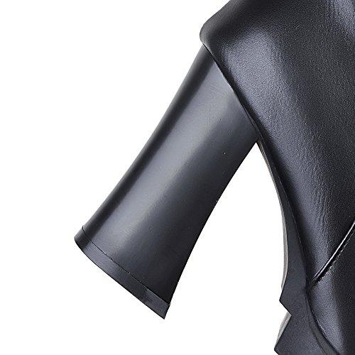 AgooLar Damen Reißverschluss Hoher Absatz Rein Hoch-Spitze Stiefel mit Metallisch Schwarz