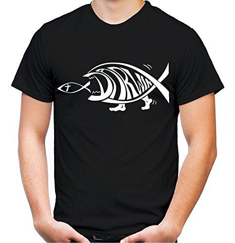 Darwin Fisch Männer und Herren T-Shirt | Charles Darwin Kleidung Geschenk | M1 (S, Schwarz) - Jesus-fisch-shirt