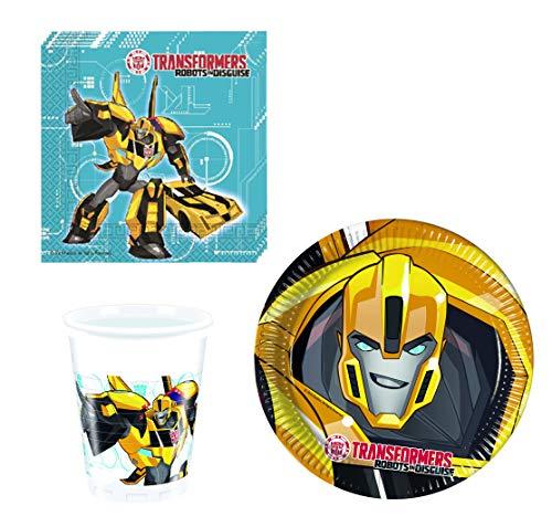 JT Lizences Transformers Bumblebee Optimus Prime Set de Vaisselle de fête Robots en Disguise