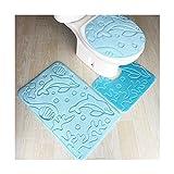 HONGYUANZHANG 3 Pcs Badematten Microfaser Bodenbelag Küche Bad Mat Rutschfeste Badezimmer Teppich Teppiche Und Matten Waschbar Bad Wc Teppiche, Tianlan, 50 X 80 50 X 40 40 X 40 cm.