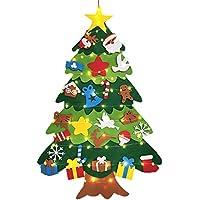 PEMUDCOT Conjunto de árbol de Navidad de Fieltro, decoración de Fieltro de Bricolaje de Navidad, con luz de Cadena LED de 10 m, para casa, Puerta, Pared (95 x 70 cm)