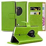 Cadorabo Hülle für Nokia Lumia 1020 - Hülle in Gras GRÜN – Handyhülle im Luxury Design mit Kartenfach und Standfunktion - Case Cover Schutzhülle Etui Tasche Book