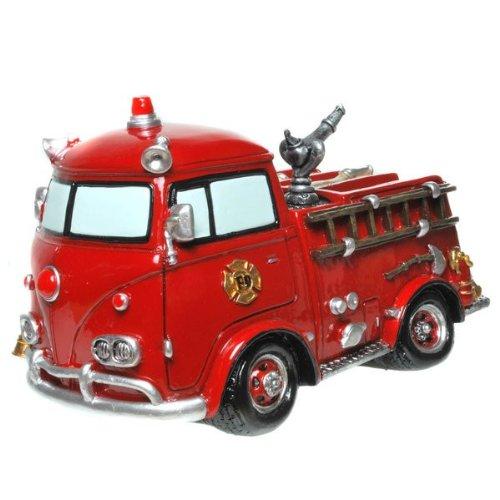 Spardose Nostalgie Feuerwehrauto mit Schraubverschluß Figur Sparschwein