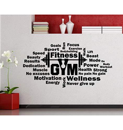 Olivialulu Fitness Wandtattoos Wortwolke Gym motivierende Langhantel Vinyl Aufkleber Workout Family Boy Zimmer Art-Deco-Wandaufkleber Jsf11 112 * 57 cm anpassbar - Tür-workout-system