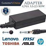 Universales Laptop Netzteil 4.74A 5,5x2,5 19v 90w | Universales Ladekabel für die Laptops ASUS, Toshiba, MSI, HP | 2 Jahre Garantie auf das universale Laptop-Ladegerät