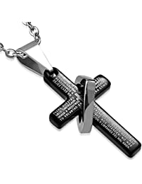 Acero inoxidable Padre Nuestro Cruz Colgante señores Prayer colgante + cadena corazón (PLY1005)