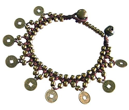 artisanat-asiatique-bracelet-fait-main-chaine-de-cire-monnaie-perles-en-laiton-cloche-couleur-or-bru