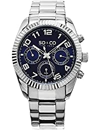 So & Co New York Madison Men's Quartz Watch with Blue Dial Analogue Display and Silver Stainless Steel Bracelet 5009.2