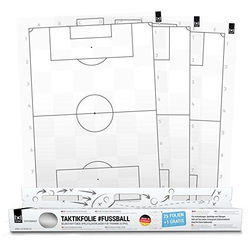1x1SPORT Taktikfolie #FUSSBALL V2 - Spielfeldfolien für Taktik, Aufstellungen, Spielzüge und Übungen (Taktikfolie V2 80x60)