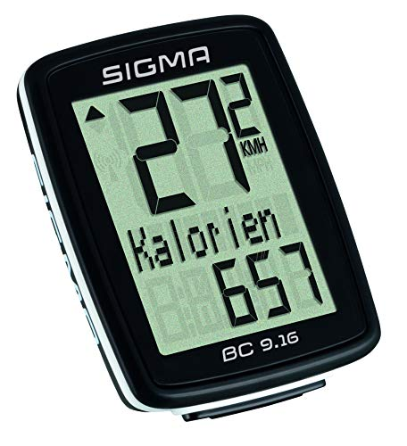 Sigma Sport Fahrrad Computer BC 9.16, 9 Funktionen, Maximalgeschwindigkeit, Kabelgebundener Fahrradtacho, Schwarz - 3