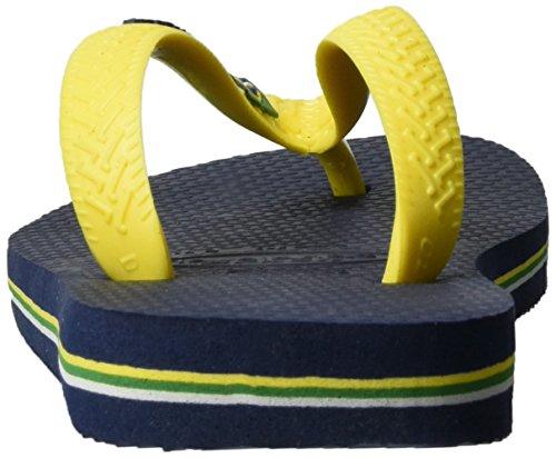 Havaianas Unisex-Erwachsene Brasil Logo Zehentrenner Mehrfarbig (Navy Blue/Citrus YELLOW 3587)