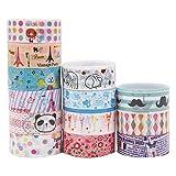 10 Stück Washi Tape Dekoband | Bunte Designs Klebebänder für Dekoration | DIY Geschenkband Set für Kunstwerke Haushalt Deko | Hübsche Muster Masking Tape