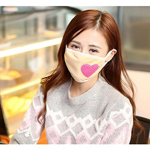 Spesso Inverno Caldo maschere maschera bocca protezione maschere Cotton viso maschera bocca per polvere per bocca a forma di cuore ragazze e donna (colore casuale) marrone