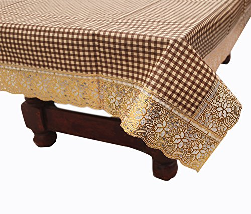 E-Retailertm Stylish Center Table Cover With Golden Lace Brown Small Check Pattern...
