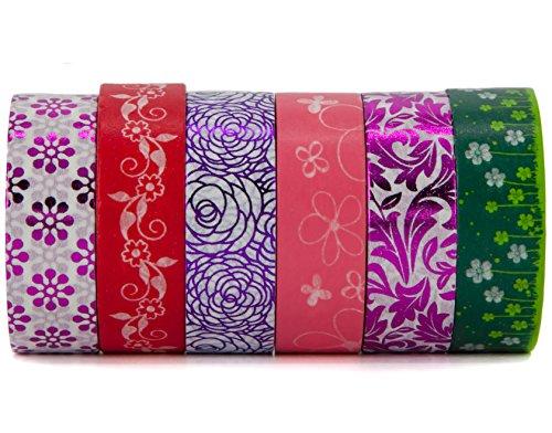 Floral Majestic Washi Deko Klebeband Set-Rot, Grün, Pink, Magenta Blumen und Wiese-Für Art, Scrapbooking und Geschenkverpackungen von Washi. Design Premium-magenta Rose