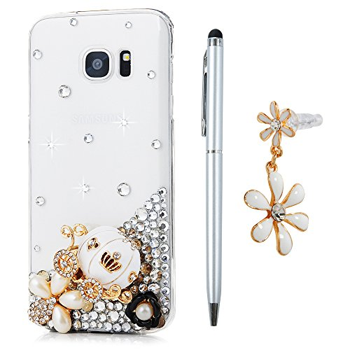 Custodia per Samsung Galaxy S7 Edge, Trasparente Glitter Bling Strass Case Rigida Plastica Hard - MAXFE.CO 3D Fatto a mano Cover Plastica PC Duro Protettiva,Cristallo Diamante - Corona imperiale,perle,zucca