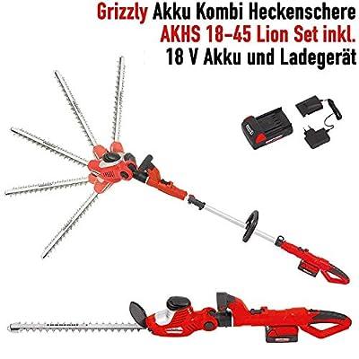 Grizzly Akku Kombi Heckenschere AKHS 18 Set, 2 Heckenscheren zu 1 Preis, 18 V Akku, 45 cm Messerlänge, 4 m Schnitthöhe