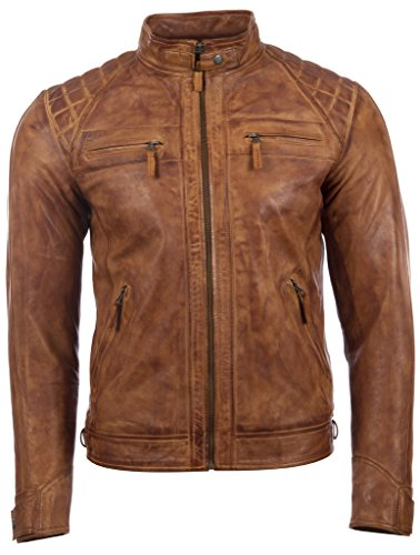 Aviatrix Herren Echtleder Kreuzschraffur Schulter Design Mode Jacke (44T9) Mode Jacke