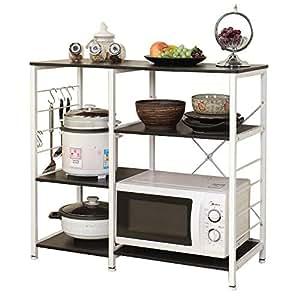soges 3 schichten k chenregallagerung regal f r mikrowelle multifunktionale k che regale schwarz. Black Bedroom Furniture Sets. Home Design Ideas