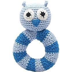 Mano Made Baby Anillo Sonajero gehäkelt búho azul