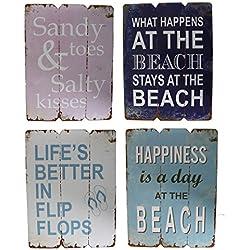 4er Wandbild-Set aus Holz je 28x21cm - 4 Holzbilder mit sommerlichen Sprüchen - Sommer Strand Bilder Wandobjekt Maritim Dekoration Beach Spruch 4tlg.