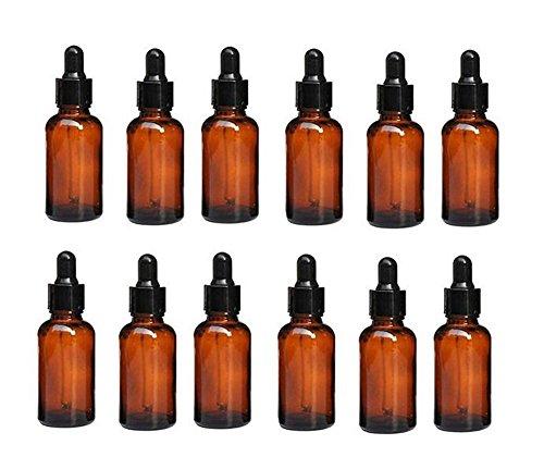 20 Unzen Flüssigkeit (Unzen 30ml leer nachfüllbar Ambe Glas ätherisches Öl Flasche Flakon Behälter mit Glas Dropper für ätherische Öle andere Flüssigkeiten 6Stück)