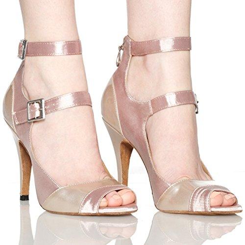sangle Beige mariage femme chaussures Double latine de écoles en Minitoo Satin de pour de cheville danse Z5fwzxTxq