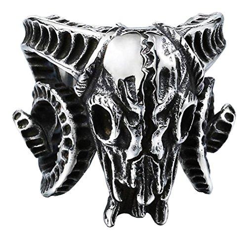 HIJONES Herren Edelstahl Vintage Silber Ton Schwarz Horn Ziege Schädel Ring Open End Style Größe 54 -